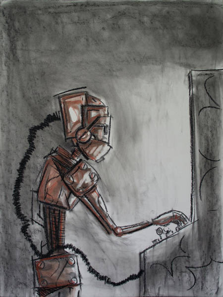 Wall Art - Drawing - Arcade Bot by Chase Fleischman