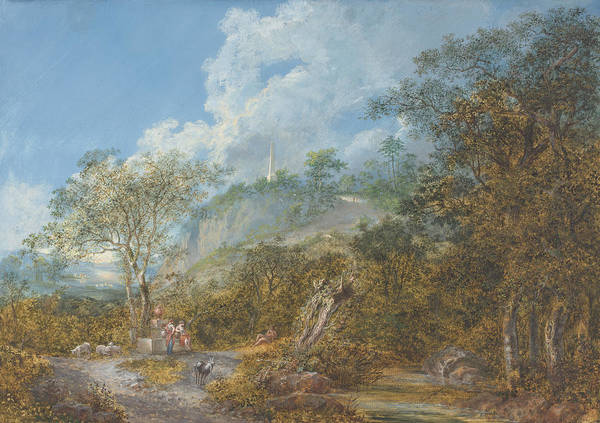 Wall Art - Drawing - Arcadian Landscape With An Obelisk by Salomon Gessner
