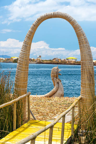 Puno Photograph - Arch And Reed Boat by Jess Kraft