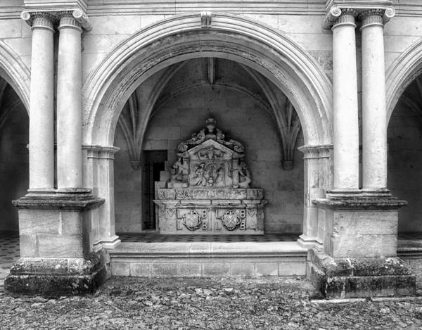 Fontevraud Photograph - Arch At Fontevraud Abbey Bw by Dave Mills