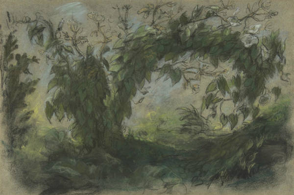 Pastel - Arch Of Morning Glories by Eugene Delacroix