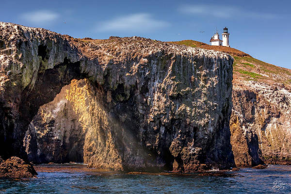 Photograph - Arch Rock And Lighthouse by Endre Balogh