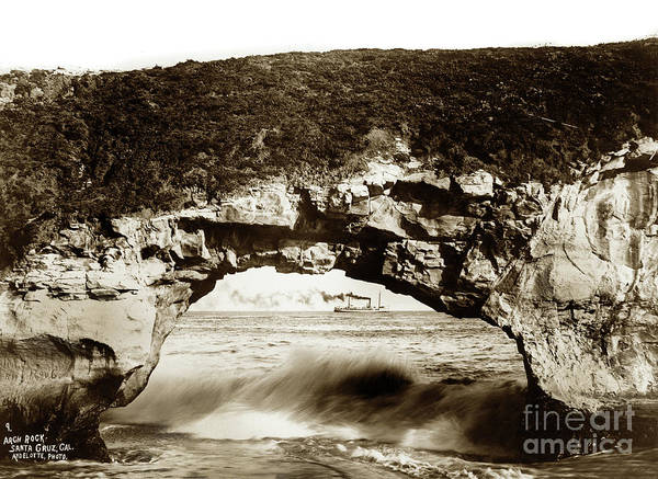 Photograph - Arch Rock, Santa Cruz, California Circa 1900 by California Views Archives Mr Pat Hathaway Archives