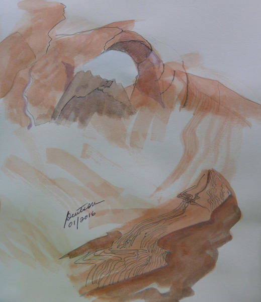 Valley Of Fire Painting - Arch Rock - Sketchbook Doodle by Joel Deutsch