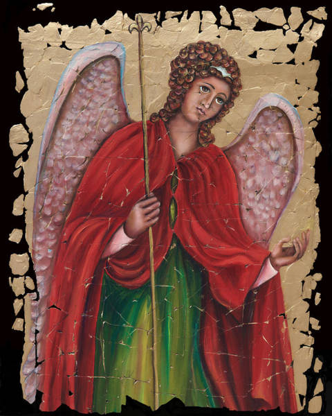 Painting - Archangel Gabriel Fresco With A Crackled Finish by OLena Art - Lena Owens