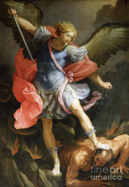 Satan Painting - Archangel Michael Defeating Satan by Guido Reni