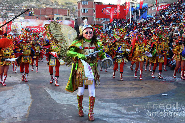 Photograph - Archangel Michael Leading Devils At Oruro Carnival Bolivia by James Brunker