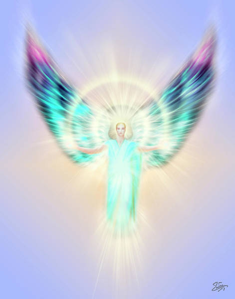 Digital Art - Archangel Uriel - Pastel by Endre Balogh