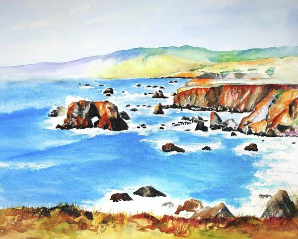 West Bay Painting - Arched Rock Sonoma Coast California by Carlin Blahnik CarlinArtWatercolor
