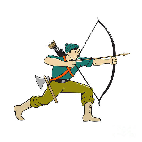 Archer Aiming Long Bow Arrow Cartoon Art Print