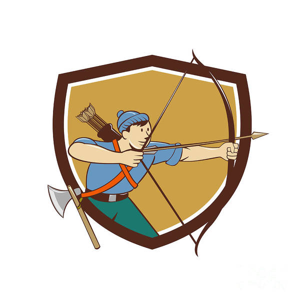 Archer Aiming Long Bow Arrow Cartoon Crest Art Print