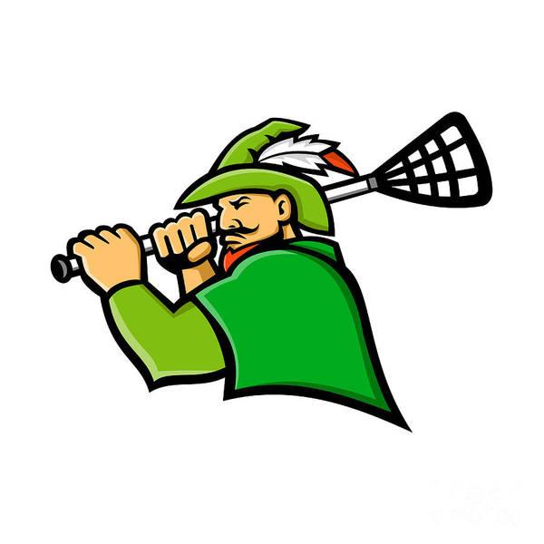 Wall Art - Digital Art - Archer Lacrosse Sport Mascot by Aloysius Patrimonio