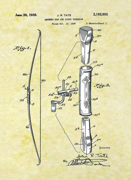 Target Drawing - Archery Bow Sight Patent by Movie Poster Prints
