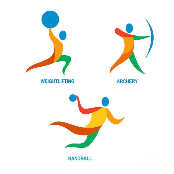 Wall Art - Digital Art - Archery Weightlifting Handball Icon by Aloysius Patrimonio