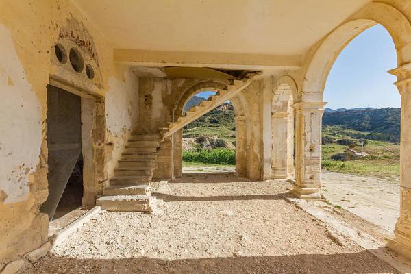 Stone Wall Art - Photograph - Arches, Entrance And Stairs Of Derelict Agios Georgios Church by Iordanis Pallikaras
