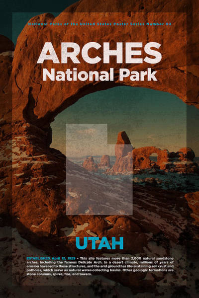 Arch Mixed Media - Arches National Park In Utah Travel Poster Series Of National Parks Number 02 by Design Turnpike