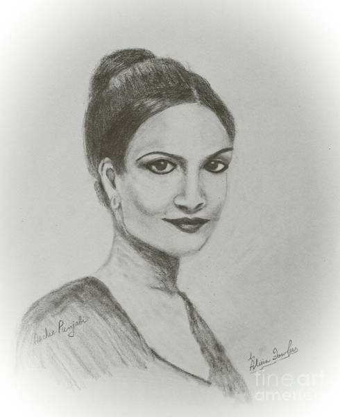 Drawing - Archie Panjabi by Alicia Fowler