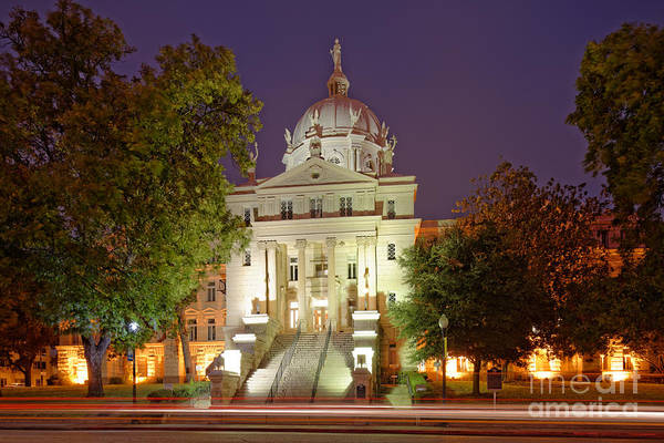 Photograph - Architectural Photograph Of Mclennan County Courthouse At Dawn - Downtown Waco Central Texas by Silvio Ligutti