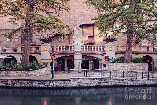 Bald Cypress Photograph - Architectural Photograph Of The Aztec Theatre At Riverwalk Level - Downtown San Antonio Texas by Silvio Ligutti