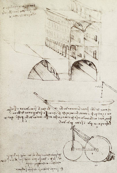 Pen And Ink Drawing Drawing - Architectural Study by Leonardo Da Vinci