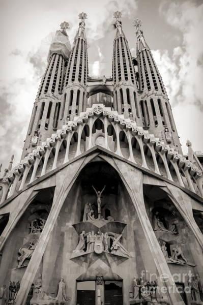 Wall Art - Photograph - Architecture Antoni Gaudi La Sagrada Familia Barcelona Spain Sepia  by Chuck Kuhn
