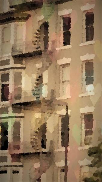 Grand Central Painting - Architecture Artwork With Spiral Fire Escape by Rosemarie E Seppala