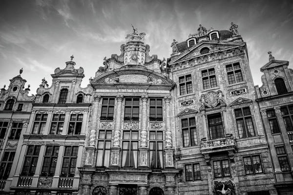 Market Place Photograph - Architecture Of The Grand Place Brussels In Black And White by Carol Japp
