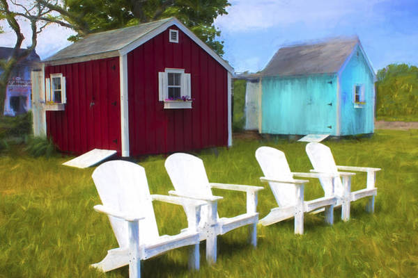 Photograph - Nantucket Houses With Adirondack Chairs - Architecture Series 02 by Carlos Diaz