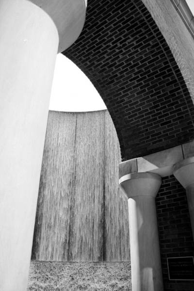 Photograph - Arcs And Tangents Houston Water Wall In Black And White by Angela Rath