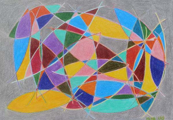 Primary Colors Drawing - Arcs Catching Color by Margaret Brooks