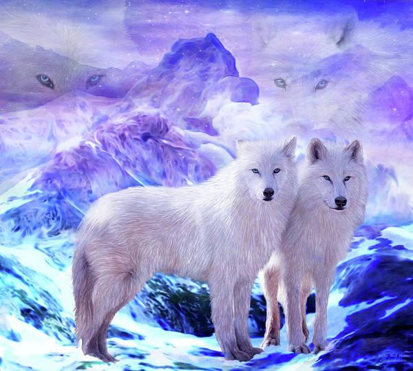 Mixed Media - Arctic Wolf Mates by Carol Cavalaris