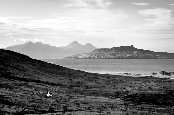 Ardnamurchan Landscape Toward The Islands Of Eigg And Rhum.    Black And White Art Print