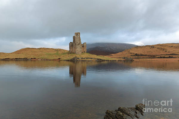 Photograph - Ardvreck Castle Reflecting In Loch Assynt by Maria Gaellman
