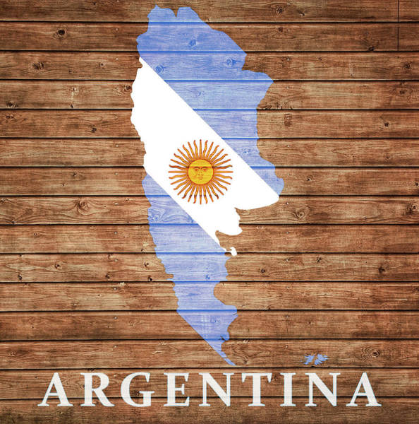 Flag Of Chile Wall Art - Mixed Media - Argentina Rustic Map On Wood by Dan Sproul