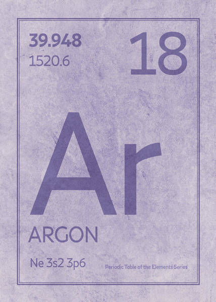 Atomic Number Wall Art - Mixed Media - Argon Element Symbol Periodic Table Series 018 by Design Turnpike
