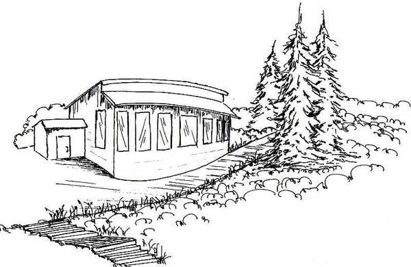 Beach Grass Drawing - Argyle Bay Cabin by Elizabeth Thorstenson