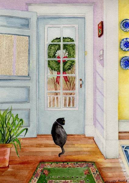 Wall Art - Painting - Ariana At The Door by Melody Allen