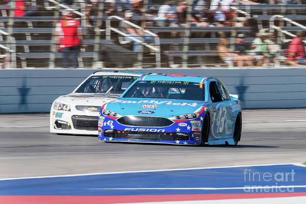 Photograph - Aric Almirola Trying To Keep His Lead by Paul Quinn
