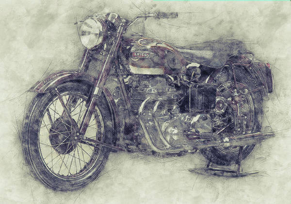 Wall Art - Mixed Media - Ariel Square Four 1 - 1931 - Vintage Motorcycle Poster - Automotive Art by Studio Grafiikka