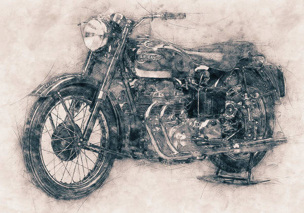 Wall Art - Mixed Media - Ariel Square Four - 1931 - Vintage Motorcycle Poster - Automotive Art by Studio Grafiikka