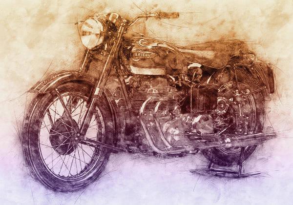 Four Wheeler Mixed Media - Ariel Square Four 2 - 1931 - Vintage Motorcycle Poster - Automotive Art by Studio Grafiikka