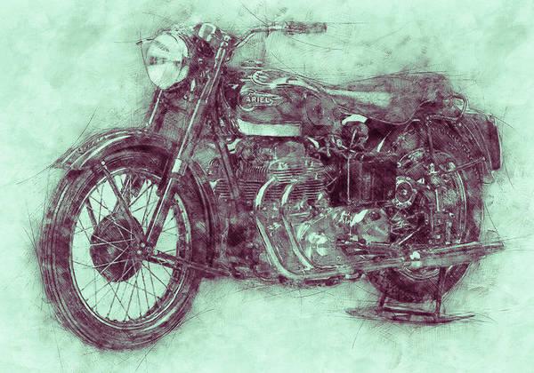 Four Wheeler Mixed Media - Ariel Square Four 3 - 1931 - Vintage Motorcycle Poster - Automotive Art by Studio Grafiikka