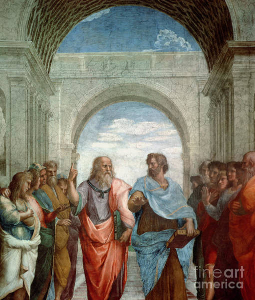 Wall Art - Painting - Aristotle And Plato by Raphael