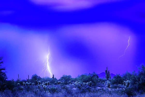 Photograph - Arizona Blue Hour Desert Storm by James BO Insogna