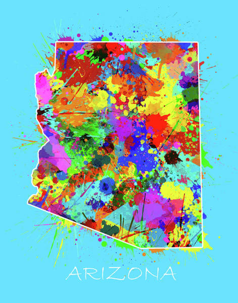 Southwest Digital Art - Arizona Map Color Splatter 2 by Bekim M