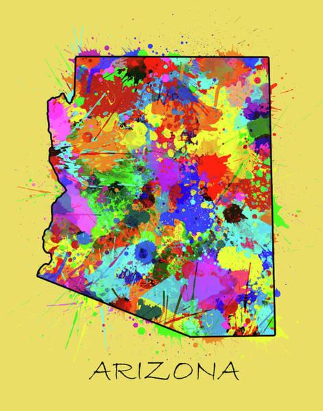 Southwest Digital Art - Arizona Map Color Splatter 3 by Bekim M