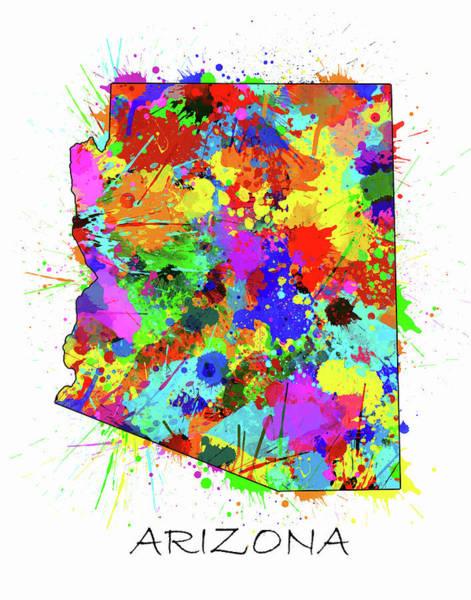 Southwest Digital Art - Arizona Map Color Splatter by Bekim M