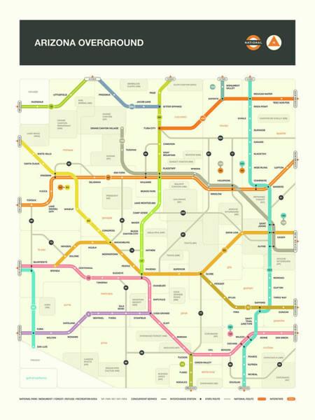 Subway Map Wall Art - Digital Art - Arizona Map by Jazzberry Blue