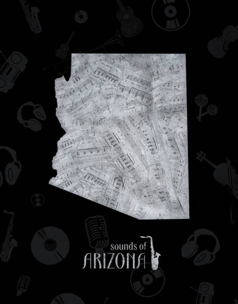 Southwest Digital Art - Arizona Map Music Notes 2 by Bekim Art
