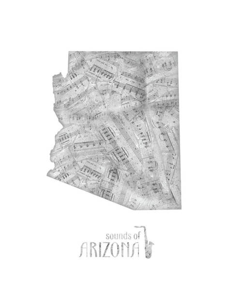 Southwest Digital Art - Arizona Map Music Notes by Bekim Art